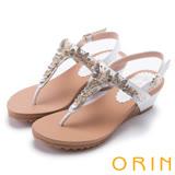 ORIN 耀眼時尚 蝴蝶造型寶石牛皮夾腳涼鞋-白色