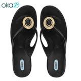 【OkaB】RASHA典雅寶石夾腳拖鞋 黑色(K4824-BL)