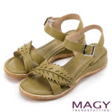 MAGY 休閒時尚 皮革葉片造型坡跟涼鞋-綠色