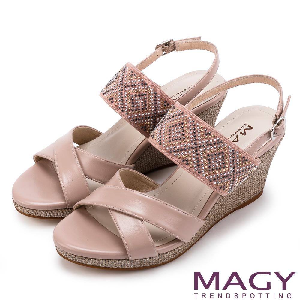 MAGY  羊皮交叉楔型高跟鞋