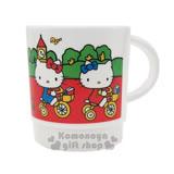 〔小禮堂〕 Hello Kitty 日製塑膠小水杯《白.騎腳踏車.噴水池.樹》容量約340ml