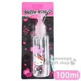 〔小禮堂〕Hello Kitty 按壓式空瓶《透明.粉.坐姿.拿愛心.吊帶褲.100ml》可自由補裝內容物
