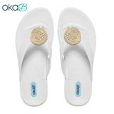 【OkaB】WYLAND銅飾夾腳拖鞋 白色(K9830-WH)