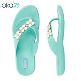 【OkaB】CYRIS 碎鑽小花夾腳拖鞋 水藍色(K9872-LGR)