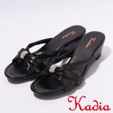 kadia.優雅典美 羊皮拖鞋(7107-91黑)