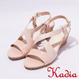 kadia.夏日清涼 造型交叉羊皮楔型涼鞋(7132-61粉)