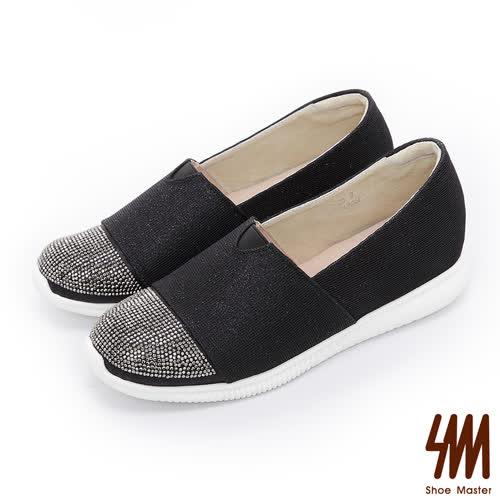 SM-晶鑽系列-亮鑽透氣平底休閒鞋-黑色