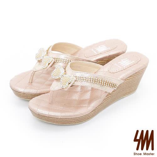 SM-晶鑽系列-蝴蝶水鑽人字厚底楔型拖鞋-粉金色