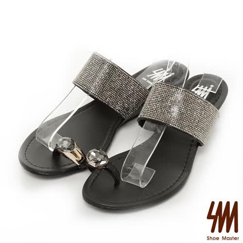 SM-晶鑽系列-寶石指環細鑽低跟楔型拖鞋-黑色