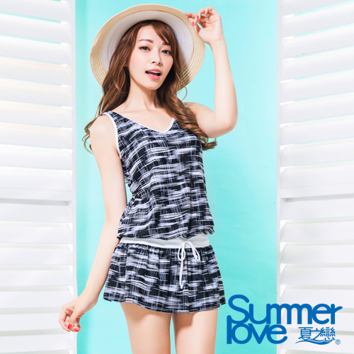 【夏之戀SUMMER LOVE】大女時尚印花連身裙二件式泳衣S17726