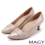 MAGY 氣質首選 素雅真皮雙材質尖頭高跟鞋-粉紅