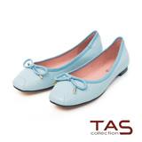 TAS 蝴蝶結羊皮沖孔方頭娃娃鞋-清新淺藍