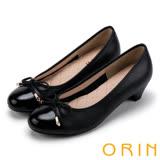ORIN 甜美OL 嚴選真皮細緻蝴蝶結低跟鞋-黑色