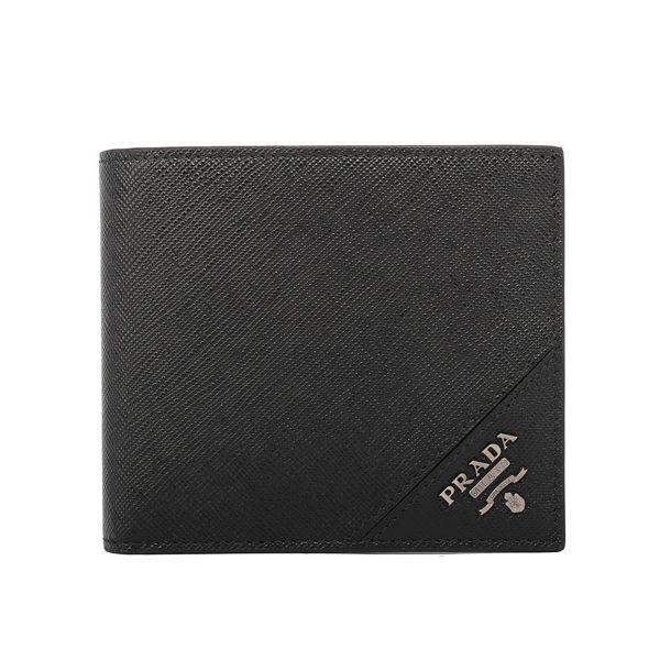 【PRADA】 銀LOGO防刮牛皮 對開 零錢袋 短夾(黑色)