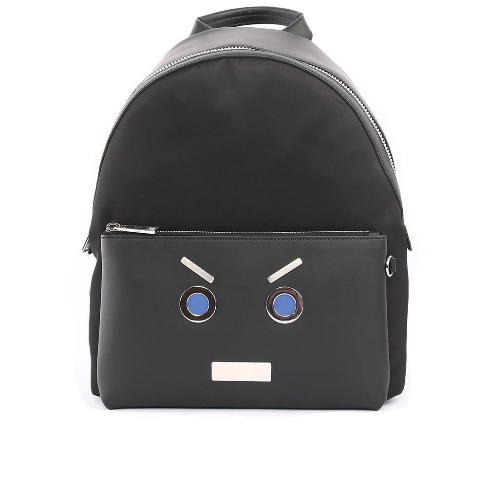 【FENDI】表情圖案皮革+尼龍bag bugs Backpack後背包(黑色)