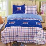 【AGAPE亞加‧貝】《MIT台灣製-英倫格調》舒柔棉雙人5尺三件式薄床包組