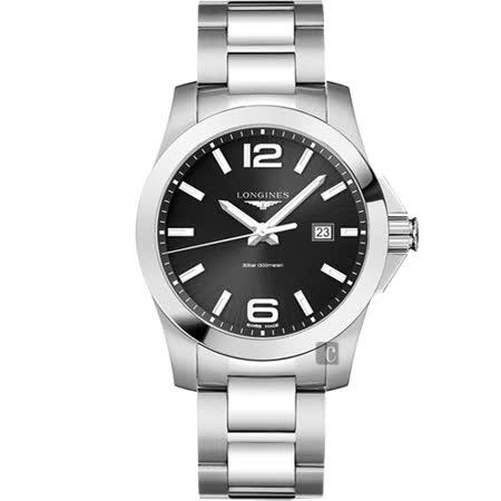LONGINES浪琴 Conquest 300米石英手錶-黑x銀/43mm L37604566 -friDay購物