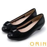 ORIN 時尚OL 氣質蝴蝶結五金牛皮低跟鞋-黑色