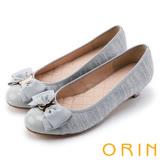 ORIN 時尚OL 氣質蝴蝶結五金牛皮低跟鞋-灰色