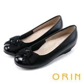 ORIN 甜美輕時尚 立體織帶蝴蝶結點綴低跟鞋-黑色