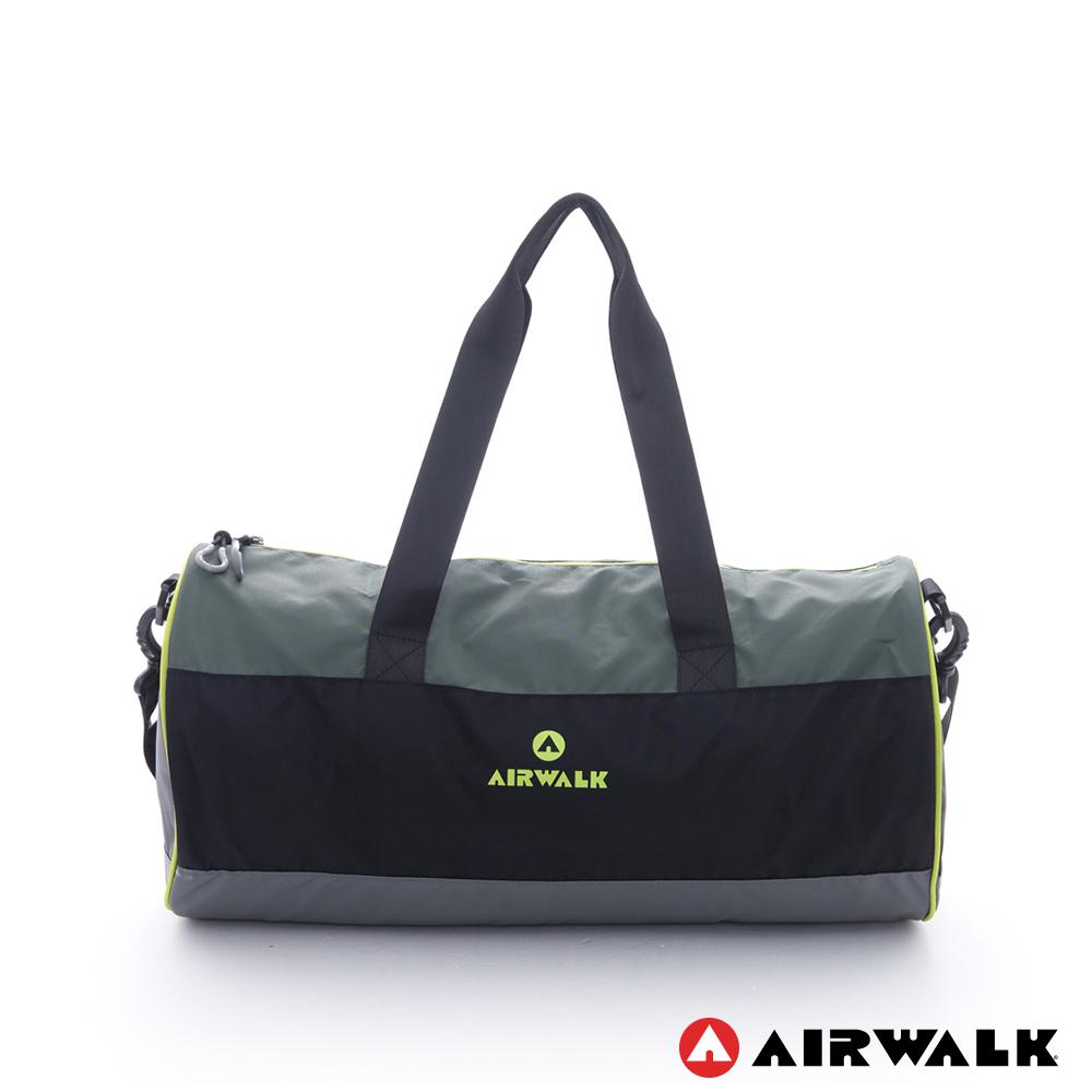 AIRWALK -跳躍節奏 亮彩輕量尼龍運動旅行圓筒包(附收納束口袋)-黑灰綠