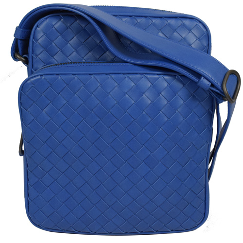 BOTTEGA VENETA 經典手工編織小羊皮雙層小斜背包.寶藍
