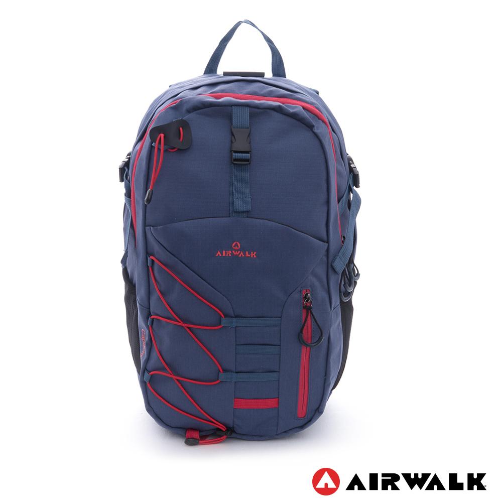 AIRWALK -幾何線條 雙層護脊輕量筆電後背包-深藍