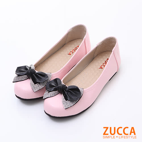ZUCCA【z6123pk】女伶閃鑽朵結娃娃鞋-粉色