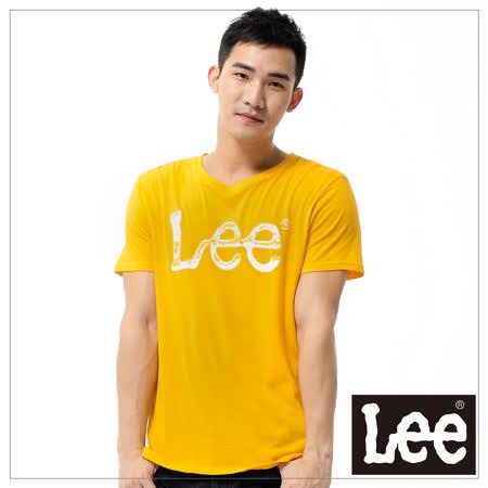Lee 短袖T恤 白LOGO噴漆印刷 -男款(橘黃)