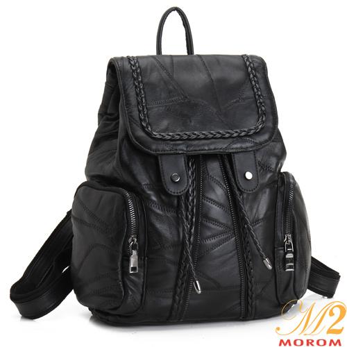 【MOROM】羊皮拼接編織大容量口袋後背包(黑色)7701