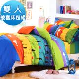 J-bedtime【漫步雲端】雙面花柔絲絨雙人四件式被套床包組