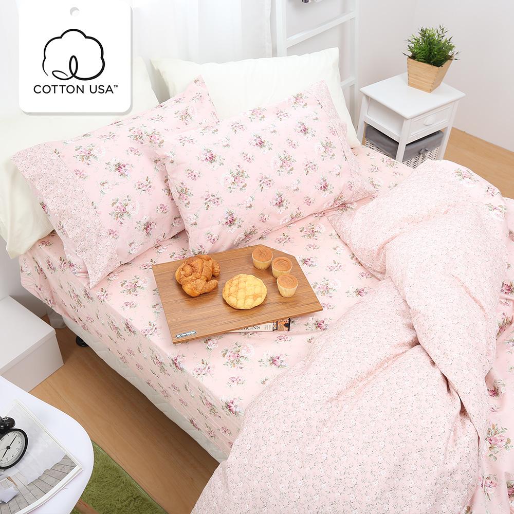 鴻宇HongYew《春漾庭園-粉》精梳棉 雙人三件式床包組