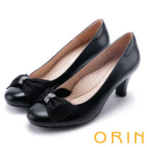 ORIN 典雅時尚女人 柔軟羊皮水鑽釦環高跟鞋-黑色