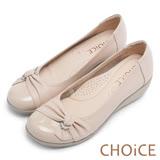 CHOiCE Q軟舒適優雅 鑽環蝴蝶結坡跟鞋-粉紅
