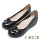 CHOiCE Q軟舒適優雅 鑽環蝴蝶結坡跟鞋-黑色