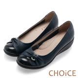 CHOiCE Q軟舒適優雅 鑽環蝴蝶結坡跟鞋-深藍