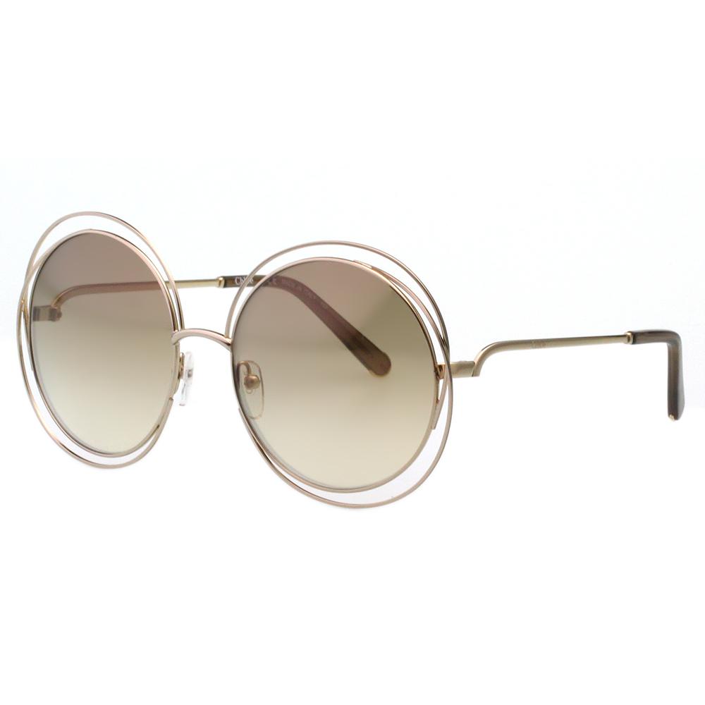 CHLOE太陽眼鏡 金屬框 反光鏡面-金色(小面版)CE114-777