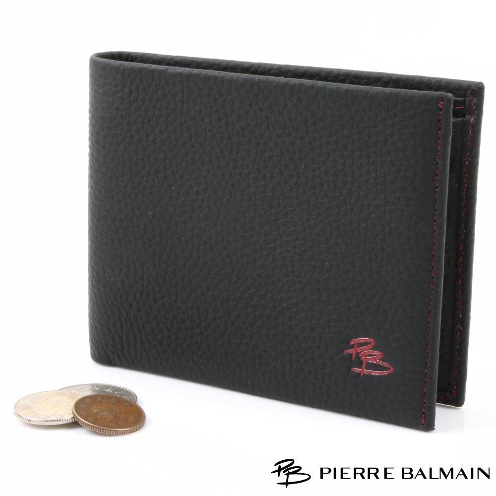 【PB皮爾帕門】時尚流行精品頭層牛皮短夾-時尚黑