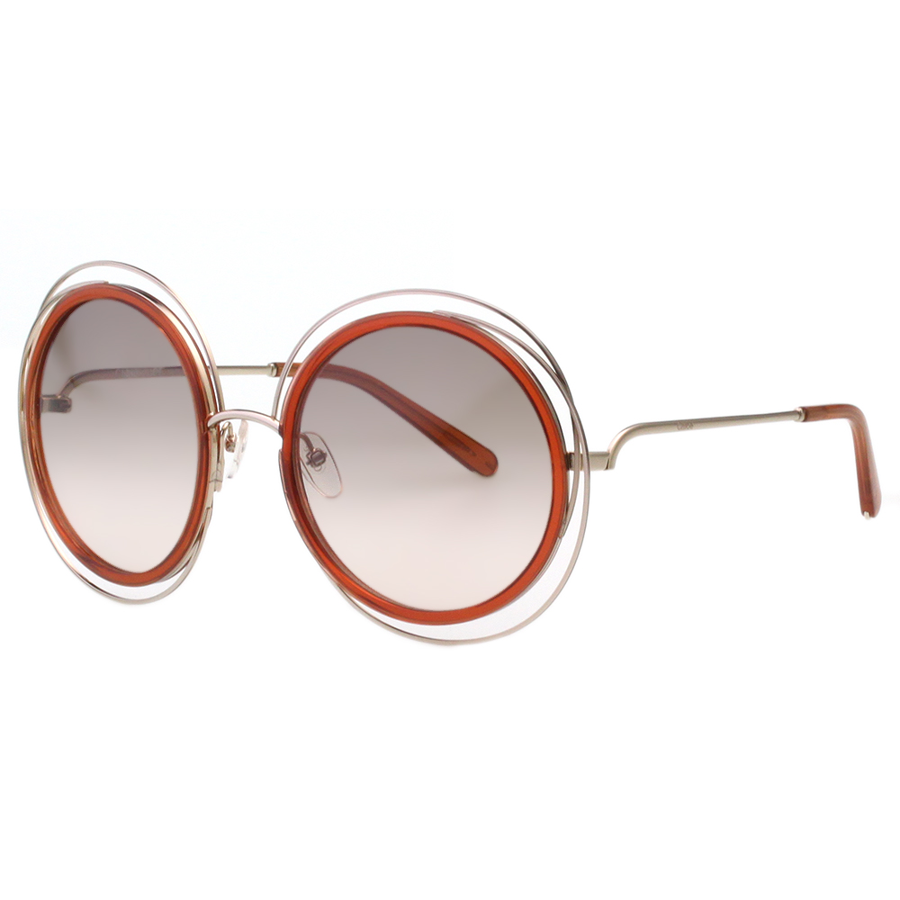 CHLOE太陽眼鏡 氣質大圓框 金色框+透明橘茶 CE120S-735