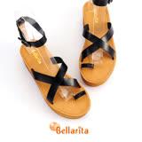 Bellarita‧仲夏羅馬牛皮厚底平底涼鞋-黑2507-90