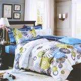 【ALICE】愛利斯 MIT雲絲絨薄被套床包組 雙人 藍色花火《台灣製造》