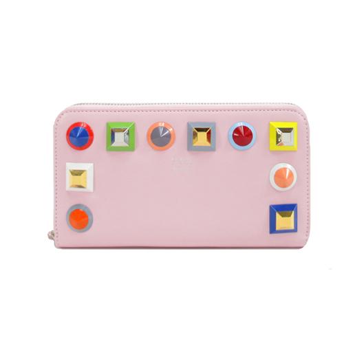 FENDI 小牛皮革彩色鉚釘ㄇ字拉鏈皮夾(粉紅)