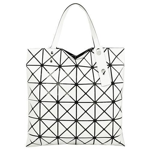 ISSEY MIYAKE  三宅一生BAOBAO幾何透光方格6x6手提包(白)