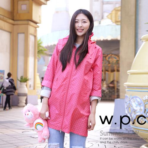 【w.p.c.】2 way袖子可折。時尚雨衣/ 風衣(R9001)-桃紅點點