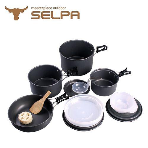 【韓國SELPA】戶外不沾鍋設計鋁合金鍋具家庭豪華組+不鏽鋼摺疊餐具三件組X2
