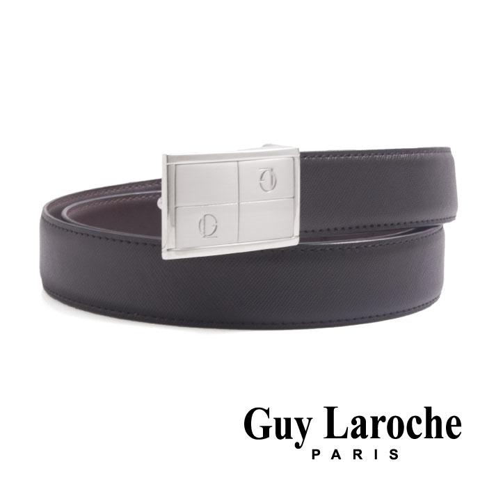 Guy Laroche 姬龍雪~ 幾何 紳士皮帶  銀色  ~ 十字紋義大利牛皮