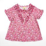 【愛的世界】MYBABY 午茶時光系列純棉荷葉領碎花上衣/2歲-台灣製-