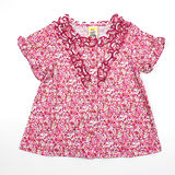 【愛的世界】MYBABY 午茶時光系列純棉荷葉領碎花上衣/3~4歲-台灣製-