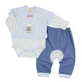 【愛的世界】MYBABY 小熊伙伴系列純棉長袖包屁衣套裝/3個月~2歲-台灣製-
