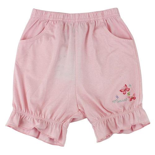 【愛的世界】MYBABY 小蝴蝶系列鬆緊帶純棉緊身五分褲-粉紅/6個月~2歲-台灣製-
